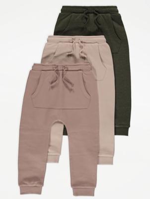 Neutral Kangaroo Pocket Joggers 3 Pack