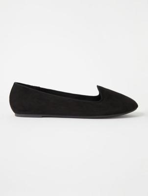 Black Suede Effect Ballet Slipper Shoes