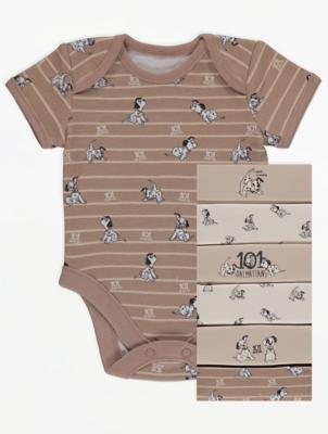 Disney 101 Dalmatians Cream Bodysuits 7 Pack