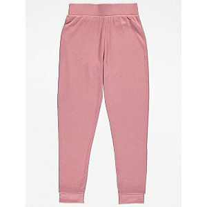 Pink Textured Knitted Leggings