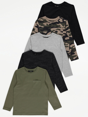 Pocket Detail Long Sleeve Tops 5 Pack