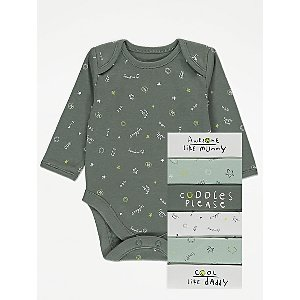 Khaki Cuddle Slogan Bodysuits 7 Pack