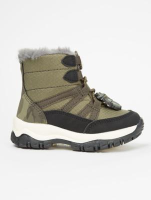 First Walkers Khaki Dinosaur Snow Boots