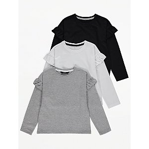 Grey Ruffled Shoulder Tops 3 Pack