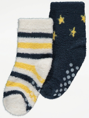 Navy Patterned Cosy Socks 2 Pack