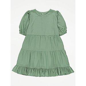 Green Woven Puff Sleeve Tiered Dress