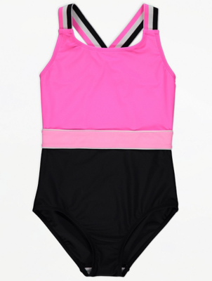 Pink Stripe Cross Back Swimsuit