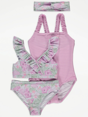 Lilac Floral Swimsuits and Headband Set