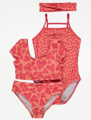 Pink Heart Print Swimwear 4 Piece Set
