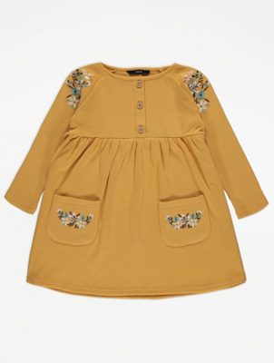 Yellow Ribbed Floral Embroidered Long Sleeve Dress