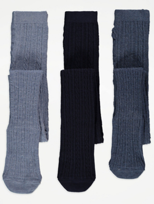 Navy Cable Knit Tights 3 Pack