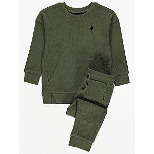 Khaki Dinosaur Emblem Sweatshirt and Joggers Outfit