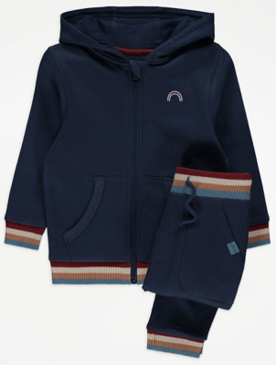 Navy Rainbow Print Hoodie and Joggers Outfit
