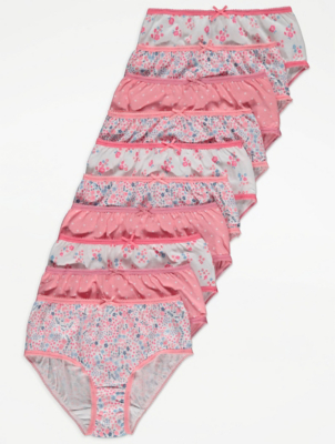 Pink Floral Print Knickers 10 Pack