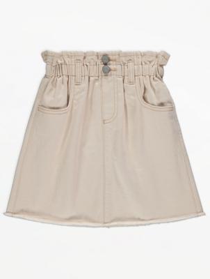 Stone Paper Bag Waist Denim Skirt
