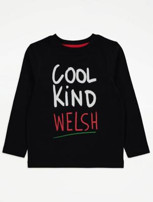 Black Cool Kind Welsh Slogan Long Sleeve Top