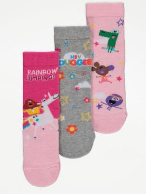 Hey Duggee Pink Slogan Print Ankle Socks 3 Pack
