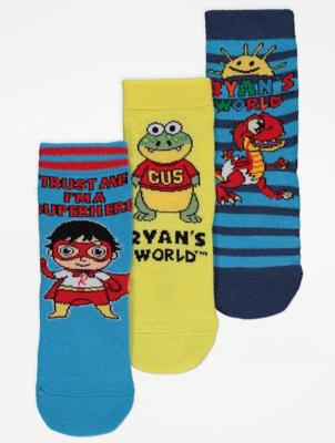 Ryan's World Blue Slogan Print Ankle Socks 3 Pack