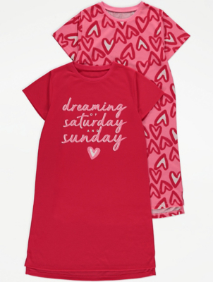 Red Heart Print Nightdresses 2 Pack
