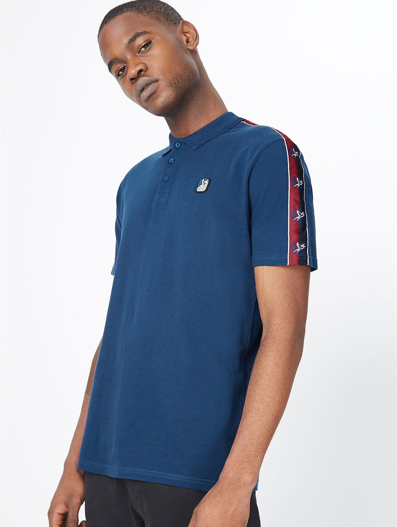 Navy Contrast Shoulder Tape Polo Shirt