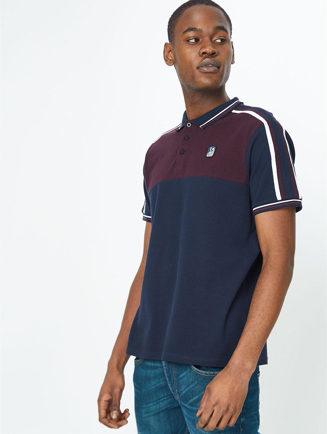 Burgundy Retro Panelled Polo Shirt