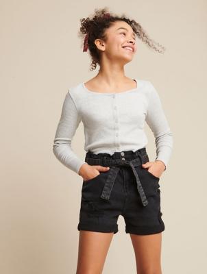 Black Denim Paperbag Denim Shorts