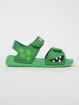 Green Crocodile Sandals
