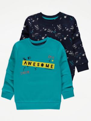 Blue Awesome Slogan Sweatshirts 2 Pack