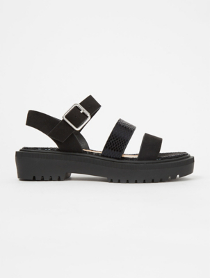 Black Suede Effect Strappy Chunky Sandals