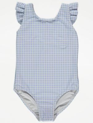 Blue Gingham Print Swimsuit