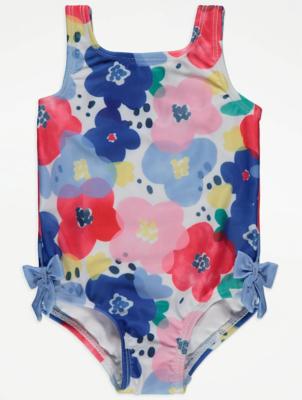 Blue Floral Print Bow Trim Swimsuit