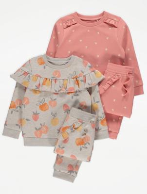 Pink Peach Print Sweatshirt and Joggers 2 Pack