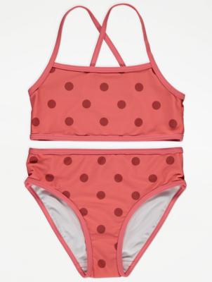 Coral Polka Dot Print Cross Back Bikini