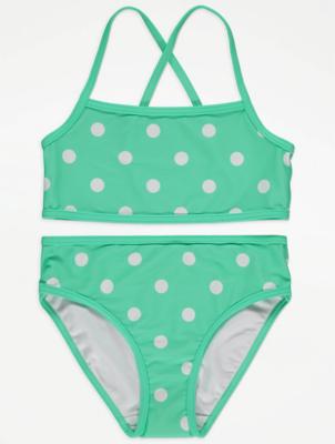 Mint Green Polka Dot Bikini Set