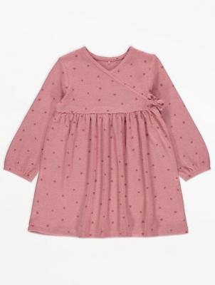 Pink Cross Front Heart Print Dress