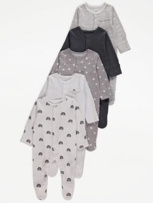 Grey Rainbow Print Sleepsuits 5 Pack