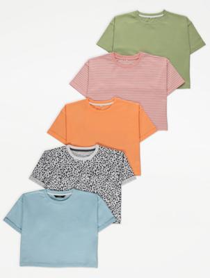 Pink Stripe Boxy T-Shirts 5 Pack