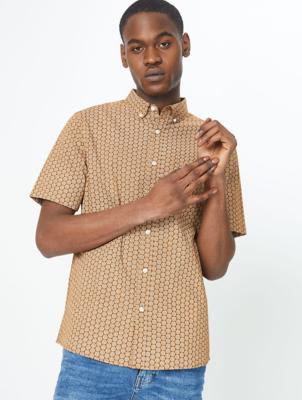 Light Brown Abstract Floral Print Short Sleeve Shirt