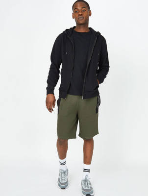 Khaki Panel Detail Jersey Shorts