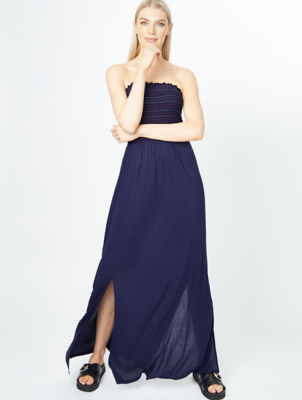 Navy Shirred Bandeau Beach Cover Up Dress