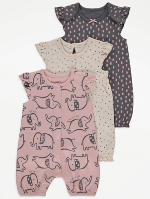 Pink Elephant Print Rompers 3 Pack