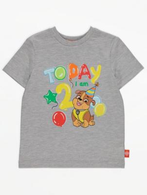 PAW Patrol Grey 2 Today Slogan Birthday T-Shirt