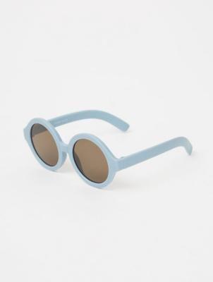 Light Blue Matte Round Sunglasses
