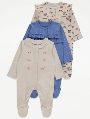Frill Trim Sleepsuits 3 Pack