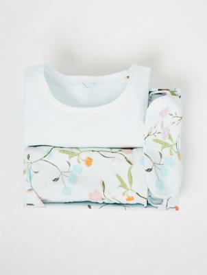 Floral Print Pyjamas with Sleep Mask