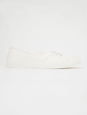 White Elasticated Lace Slip On Pumps