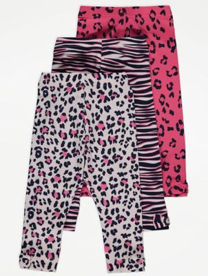 Pink Animal Print Jersey Leggings 3 Pack