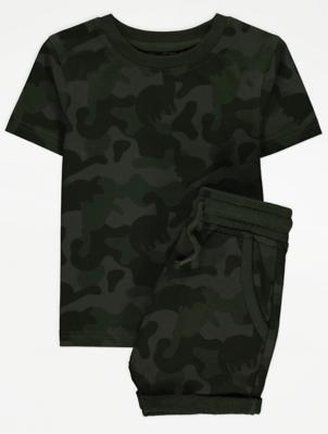 Khaki Camo Print T-Shirt and Shorts Outfit