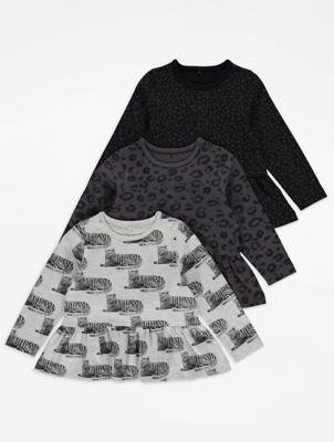 Black Animal Print Long Sleeve Peplum Tops