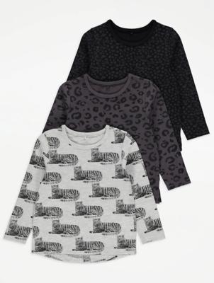 Animal Print Long Sleeve Tops 3 Pack